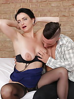Naughty housewife fooling around with her toy boy